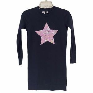Gap Kids Navy Sweater Dress With Sequin Star